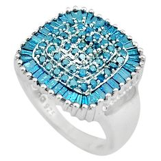 3.56cts natural blue diamond enamel 925 sterling silver ring size 6.5 c4290
