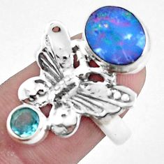 Natural blue doublet opal australian 925 silver butterfly ring size 7.5 p42737