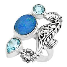 Natural blue doublet opal australian 925 silver fairy mermaid ring size 6 p61028