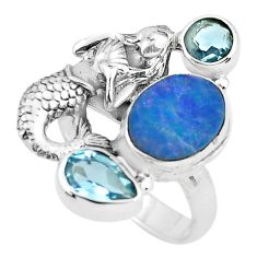Natural blue doublet opal australian 925 silver fairy mermaid ring size 7 p61030