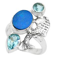 12.40cts natural blue doublet opal australian 925 silver fish ring size 8 p61022