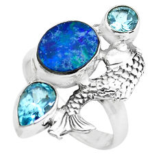 6.54cts natural blue doublet opal australian 925 silver fish ring size 8 p61032