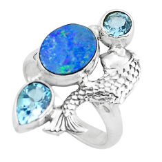 6.79cts natural blue doublet opal australian 925 silver fish ring size 8 p61039