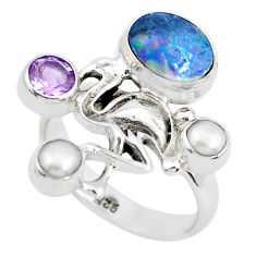 Natural blue doublet opal australian 925 silver flamingo ring size 8 p49983