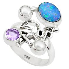 Natural blue doublet opal australian 925 silver flamingo ring size 8.5 p50021