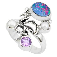 Natural blue doublet opal australian 925 silver flamingo ring size 8 p50026