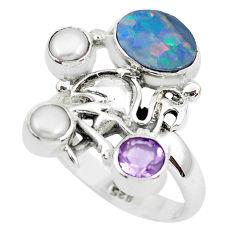 Natural blue doublet opal australian 925 silver flamingo ring size 7.5 p50031