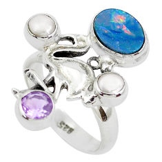 Natural blue doublet opal australian 925 silver flamingo ring size 7 p50035