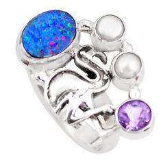 Natural blue doublet opal australian 925 silver flamingo ring size 7.5 p54089