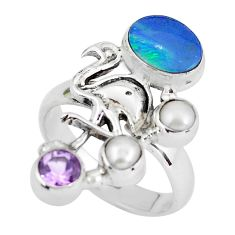 Natural blue doublet opal australian 925 silver flamingo ring size 8.5 p60284