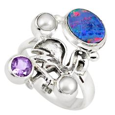 Natural blue doublet opal australian 925 silver flamingo ring size 7.5 p60290