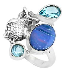 6.09cts natural blue doublet opal australian 925 silver owl ring size 7.5 p61025