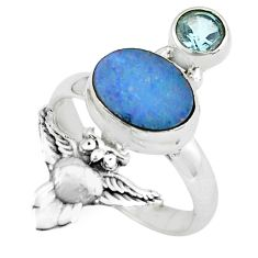 4.40cts natural blue doublet opal australian 925 silver owl ring size 7 p61078