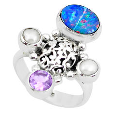 5.32cts natural blue doublet opal australian 925 silver ring size 6.5 p49974