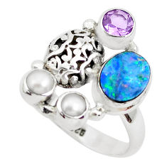 5.35cts natural blue doublet opal australian 925 silver ring size 8.5 p49979