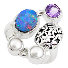 5.18cts natural blue doublet opal australian 925 silver ring size 6.5 p49993