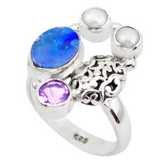 5.51cts natural blue doublet opal australian 925 silver ring size 8 p49997