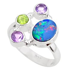 5.53cts natural blue doublet opal australian 925 silver ring size 7 p52565