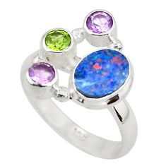 5.79cts natural blue doublet opal australian 925 silver ring size 7 p52569