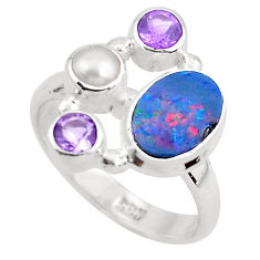 4.92cts natural blue doublet opal australian 925 silver ring size 6.5 p52576