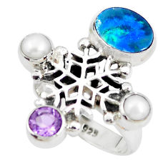 Natural blue doublet opal australian 925 silver snowflake ring size 6.5 p54085