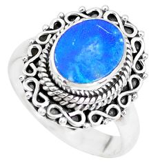 Natural blue doublet opal australian 925 silver solitaire ring size 8 p39103