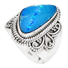 Natural blue doublet opal australian 925 silver solitaire ring size 7 p39130