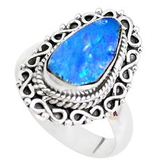 Natural blue doublet opal australian 925 silver solitaire ring size 7 p39147