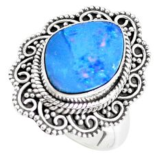 Natural blue doublet opal australian 925 silver solitaire ring size 7.5 p39151