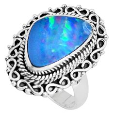 Natural blue doublet opal australian 925 silver solitaire ring size 6.5 p47468