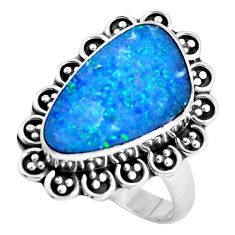 Natural blue doublet opal australian 925 silver solitaire ring size 8.5 p47471