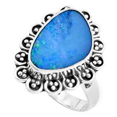 Natural blue doublet opal australian 925 silver solitaire ring size 8.5 p47481