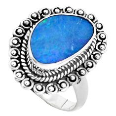Natural blue doublet opal australian 925 silver solitaire ring size 8.5 p47482