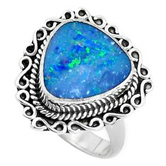 Natural blue doublet opal australian 925 silver solitaire ring size 7 p47483