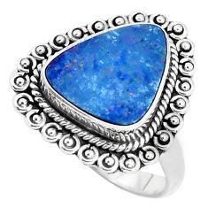 Natural blue doublet opal australian 925 silver solitaire ring size 8.5 p47485