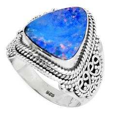Natural blue doublet opal australian 925 silver solitaire ring size 7.5 p47490