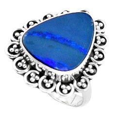 Natural blue doublet opal australian 925 silver solitaire ring size 7 p47491