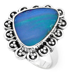 Natural blue doublet opal australian 925 silver solitaire ring size 8.5 p47495