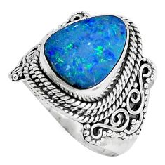 Natural blue doublet opal australian 925 silver solitaire ring size 7.5 p47497