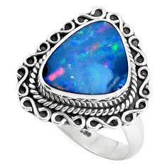 Natural blue doublet opal australian 925 silver solitaire ring size 8 p47498