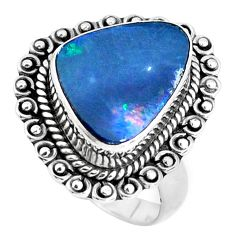 Natural blue doublet opal australian 925 silver solitaire ring size 7 p47500