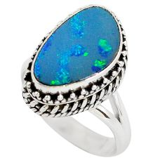 Natural blue doublet opal australian 925 silver solitaire ring size 6.5 p56457