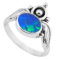 Natural blue doublet opal australian 925 silver solitaire ring size 8 p57835
