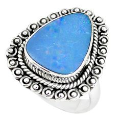 Natural blue doublet opal australian 925 silver solitaire ring size 7 p60266