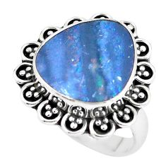 Natural blue doublet opal australian 925 silver solitaire ring size 7.5 p60272