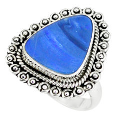 Natural blue doublet opal australian 925 silver solitaire ring size 8 p60274