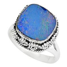 Natural blue doublet opal australian 925 silver solitaire ring size 8.5 p61363