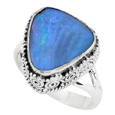 Natural blue doublet opal australian 925 silver solitaire ring size 7.5 p61367