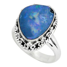 Natural blue doublet opal australian 925 silver solitaire ring size 6.5 p61368