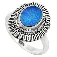 Natural blue doublet opal australian 925 silver solitaire ring size 7.5 p61538